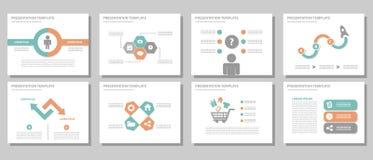 Het blauwe multifunctionele vlakke ontwerp van het presentatiemalplaatje Stock Foto