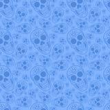 Het blauwe naadloze patroon van de Schedel van de Suiker Stock Afbeeldingen