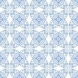 Het blauwe naadloze patroon van het lijn Aziatische mozaïek Vector Illustratie