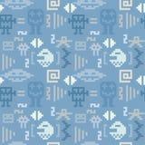 Het blauwe naadloze patroon van het pixelmonster stock illustratie