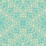 Het blauwe naadloze patroon van het room bloemendamast Royalty-vrije Stock Fotografie