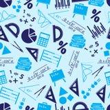Het blauwe naadloze patroon van wiskundepictogrammen Royalty-vrije Stock Foto