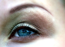 Het blauwe oog van de vrouw stock afbeelding