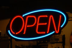 Het Blauwe Open Rood van het neon Royalty-vrije Stock Foto