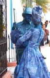 Het blauwe Paar Dansen Stock Foto's