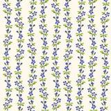 Het blauwe patroon van bloemen groene bladeren herhaalt achtergrond Royalty-vrije Illustratie