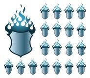 Het blauwe patroon van Flameshields Stock Foto