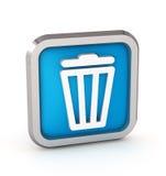 Het blauwe pictogram van de afvalbak Stock Foto