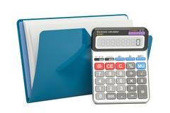 Het blauwe pictogram van de computeromslag met calculator, het 3D teruggeven Royalty-vrije Stock Afbeeldingen
