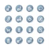 Het blauwe pictogram van de sticker mobiele telefoon Stock Fotografie