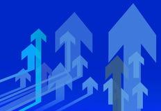 Het blauwe pijlen richten Stock Fotografie