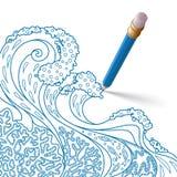Het blauwe potlood met gom trekt een patroon Stock Afbeeldingen