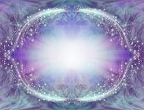Het blauwe Purpere Fonkelen Angelic Border Frame vector illustratie