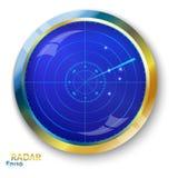 Het blauwe radarscherm Royalty-vrije Stock Afbeelding
