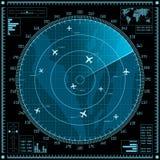 Het blauwe radarscherm met vliegtuigen Royalty-vrije Stock Afbeeldingen