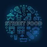 Het blauwe ronde symbool van het straatvoedsel Vector lijnillustratie vector illustratie