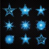 Het blauwe schitteren speelt fonkelende deeltjes op transparante achtergrond mee Stock Foto
