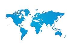 Het blauwe silhouet van de wereldkaart met het knippen van weg stock illustratie