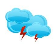 Het blauwe symbool van de wolkenregen op het wit Royalty-vrije Stock Afbeelding