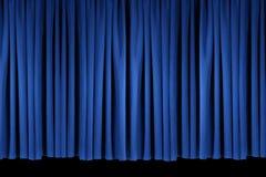Het blauwe Theater van het Stadium drapeert Lit met Stagelights Stock Afbeeldingen