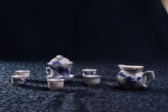 Het blauwe theestel van China stock fotografie