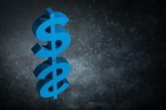 Het blauwe Valutasymbool of het Teken van de V.S. met Spiegelbezinning over Donker Dusty Background stock foto's