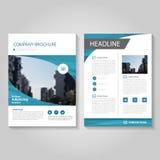 Het blauwe Vector van de de Brochurevlieger van het jaarverslagpamflet het malplaatjeontwerp, de lay-outontwerp van de boekdekkin vector illustratie