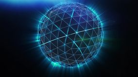 Het blauwe veelhoekige gebied spinnen voorraad Abstracte die neonbal van lijnen wordt gemaakt stock illustratie