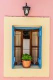 Het blauwe venster van Griekenland Royalty-vrije Stock Afbeeldingen