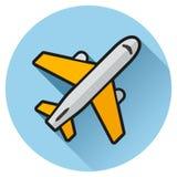 Het blauwe vlakke pictogram van de vliegtuigcirkel Royalty-vrije Stock Foto