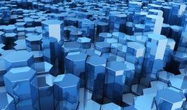 Het blauwe zeshoeken collectieve bewegen zich als achtergrond Stock Foto's