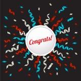 Het blauwe, zilveren en rode lint en congrats omcirkelt banner, vectorillustratie Royalty-vrije Stock Foto