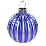 Het blauwe zilveren gestreepte glanzende metaaldecor van de Kerstmisbal stock illustratie
