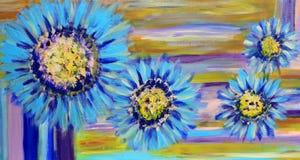 Het blauwe Zuivel Schilderen van Bloemen stock illustratie