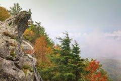 Het blazen het Rotsnoorden Carolina Foggy Autumn royalty-vrije stock foto