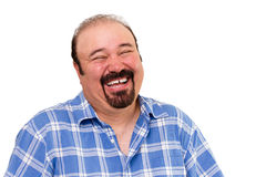 Het blije gebaarde Kaukasische mens luid lachen Stock Fotografie