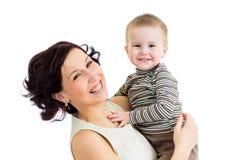 Blije moeder met jong geitjejongen Stock Fotografie