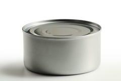 Het blik van het tin dat op wit wordt geïsoleerd royalty-vrije stock afbeelding