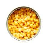 Het blik van het tin met suikermaïs Stock Foto's