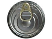 Het blik van het tin dat op wit wordt geïsoleerd stock foto