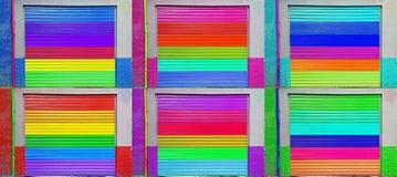 Het blind van het zes kleurenmetaal royalty-vrije stock fotografie