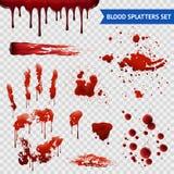 Het bloed bespat Realistische Steekproeven Transparante Reeks vector illustratie