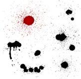 Het bloed laat vallen vectorsilhouetten stock illustratie