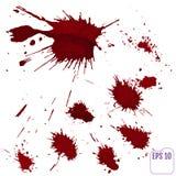 Het bloed ploetert of bevlekt bespat met rode geïsoleerde verf royalty-vrije stock fotografie