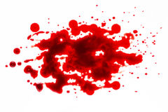 Het bloed ploetert geïsoleerd op wit royalty-vrije stock afbeelding