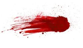 Het bloed ploetert geschilderde die vector op wit voor ontwerp wordt geïsoleerd Rode het druipen bloeddaling Royalty-vrije Stock Foto