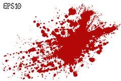Het bloed ploetert, vectorillustratie Rode plons op witte achtergrond Royalty-vrije Stock Afbeelding