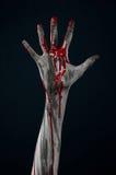 Het bloedige demon van de handzombie Stock Fotografie