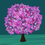 Het bloeien boomvector Royalty-vrije Stock Foto's