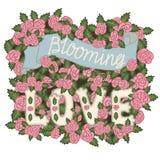 Het bloeien Liefde Romantische uitstekende illustratie Hand het van letters voorzien op een roze rozenachtergrond Royalty-vrije Stock Fotografie